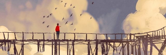 man standing on old bridge in a clouds,illustration painting