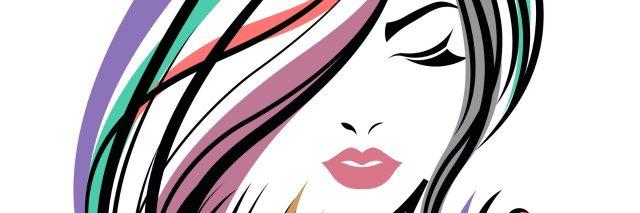 illustration of women long hair style, women face on white background, vector