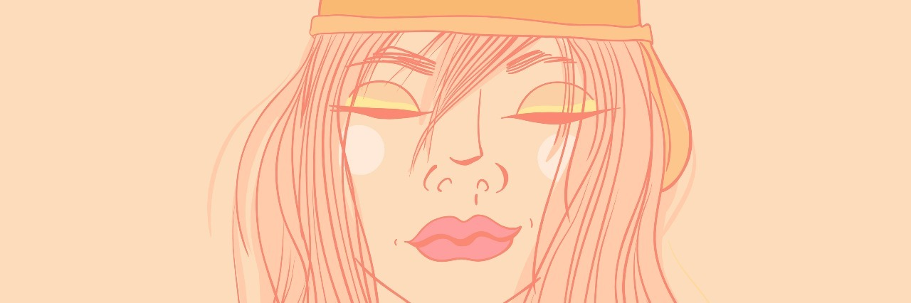 beautiful young girl in a cap. She smiles, her eyes closed. vector illustration