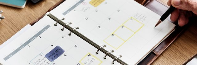 adult planning calendar with color coded sections
