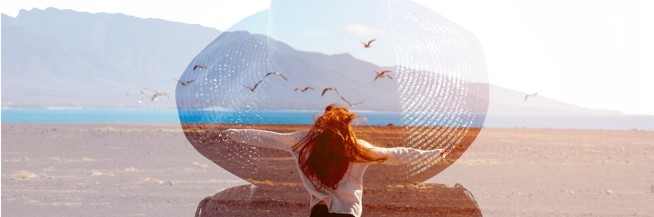 Double exposure photo with female silhouette and woman in the deserted landscape. Freedom and travel concept