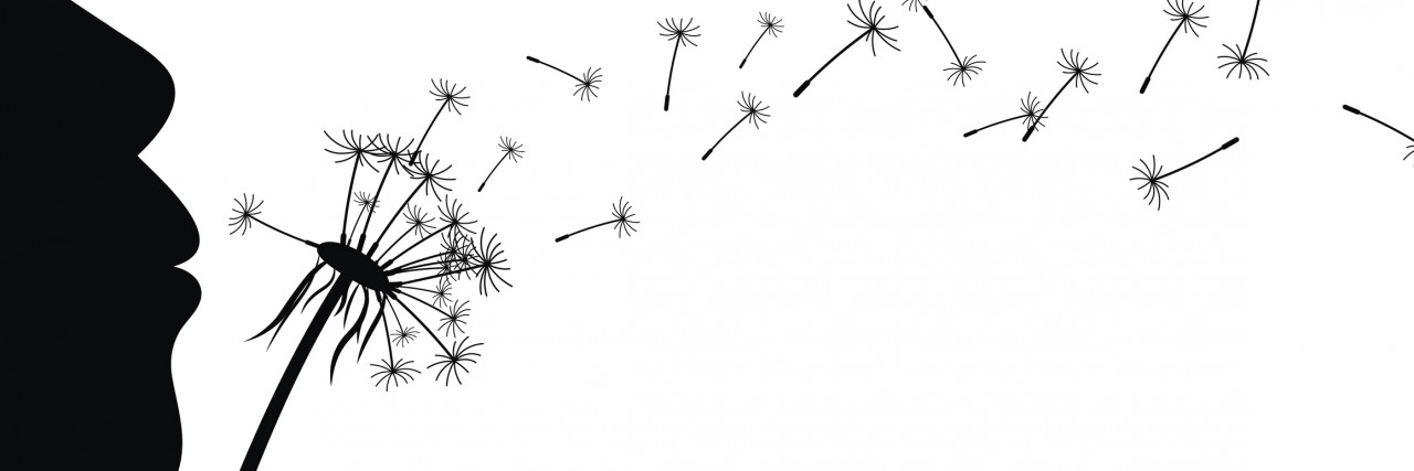 Background with girl and dandelion.