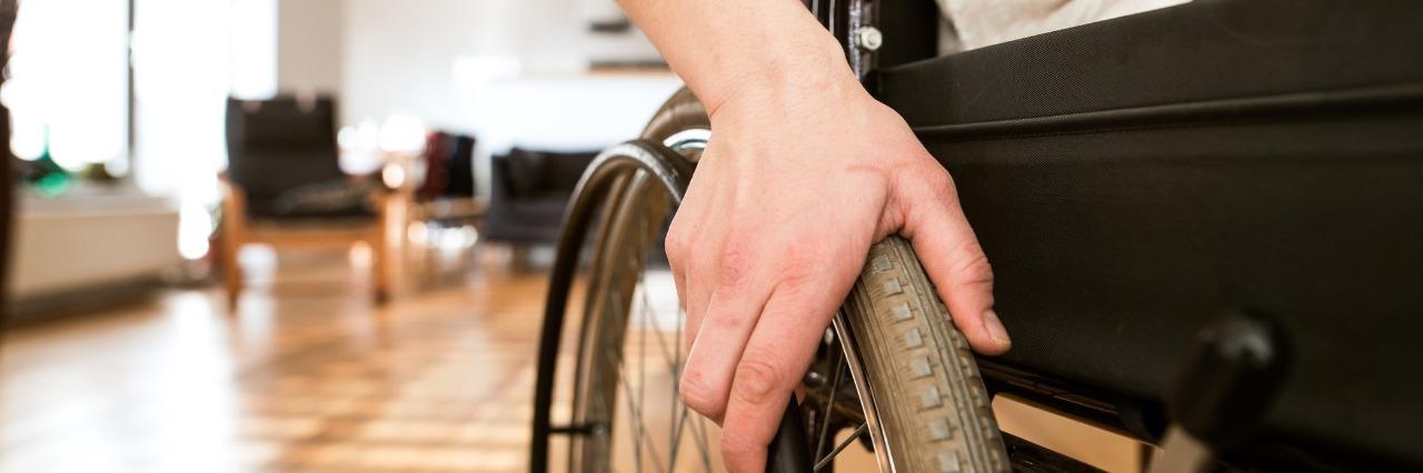 woman sitting in a wheelchair