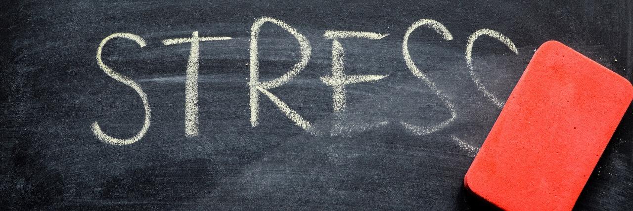 erasing stress, hand written word on blackboard being erased concept