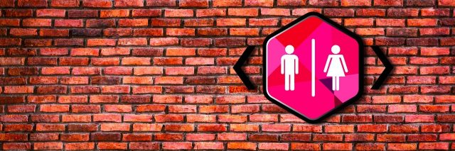 Toilet sign on old brick wall background.