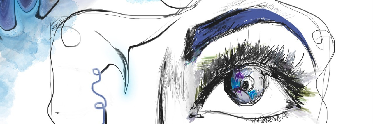sketch of woman's eye