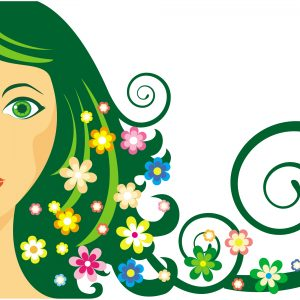 illustration of woman with long green hair full of flowers