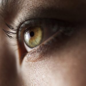 close up photo of a woman's green eye