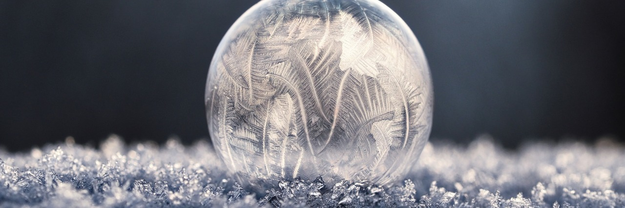 bubble with ice crystals forming in extreme cold