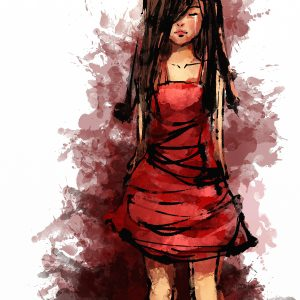 painitng, white background an a woman with brown hair and a red dress, her face is looking down, she is sad.