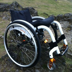 Wheelchair going off-roading.