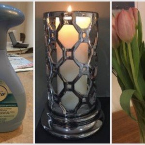 a photo collage of a bottle of Febreeze, a lit candle, and fresh tulips in a vase