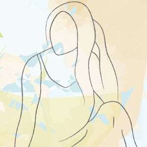 Abstract watercolour effect background with hand drawn figure