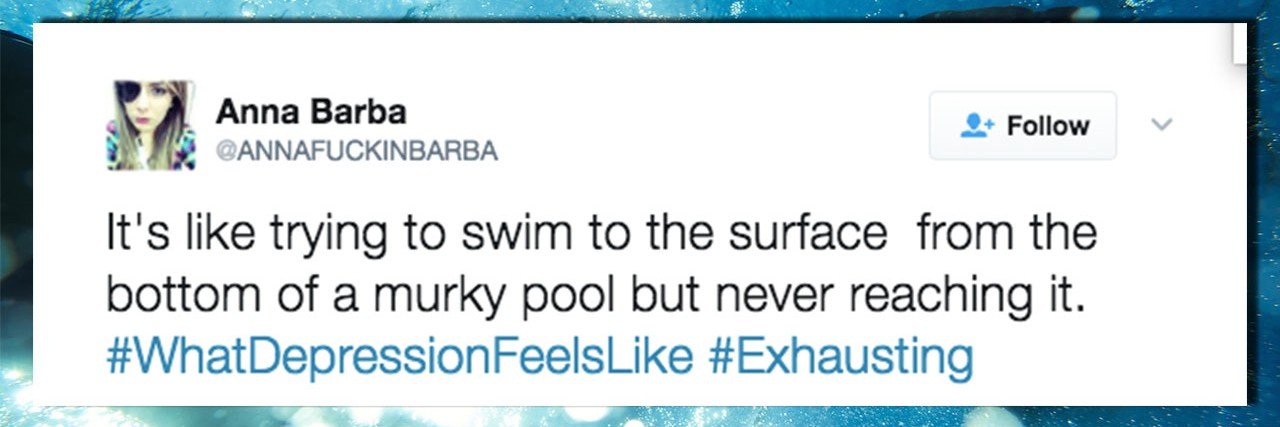 A tweet that reads: It's like trying to swim to the surface from the bottom of a murky pool but never reaching it