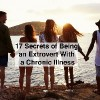 Rear View Of Friends Standing On Cliff Watching Sunset with text 17 secrets of being an extrovert with a chronic illness