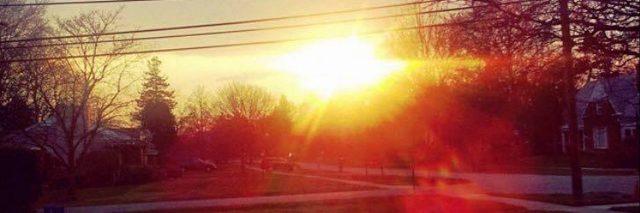 sunset over trees and neighborhood street