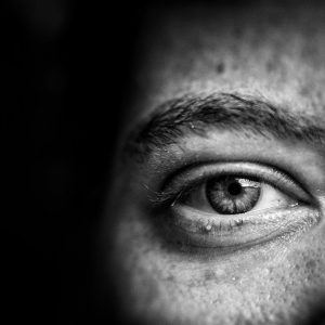 black and white photo of an eye