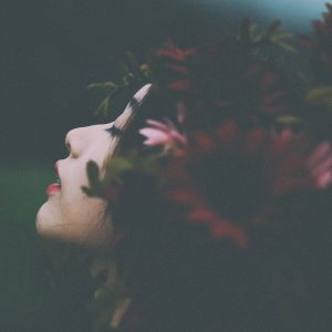 woman with flower crown on