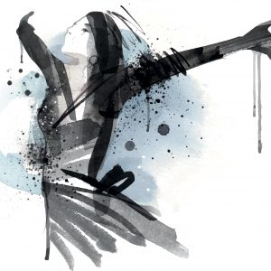 Image shows a woman in watercolor painted in black, with a blue shadow. She is stretching her arms