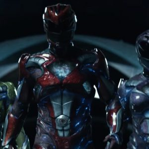five power rangers walking together