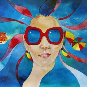 watercolor summer travel concept girl in red sunglasses with sea in her hair