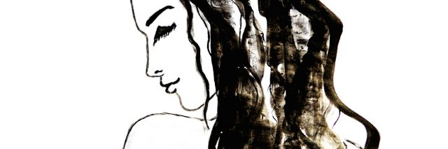 Woman, ink drawing. Fashion illustration. Ink sketch on white background