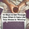 Top view image of woman hands on her bed using a laptop while drinking tea and petting a cat. with text 16 ways to get through days when it feels like your illness is winning
