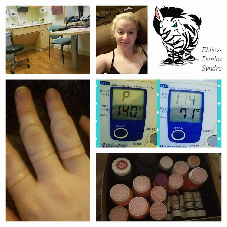 collage of photos of pills, hand wearing finger brace, monitors