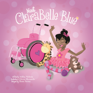 Cover of Meet Clarabelle Blue, a drawing of a young African-American girl with a pink wheelchair.