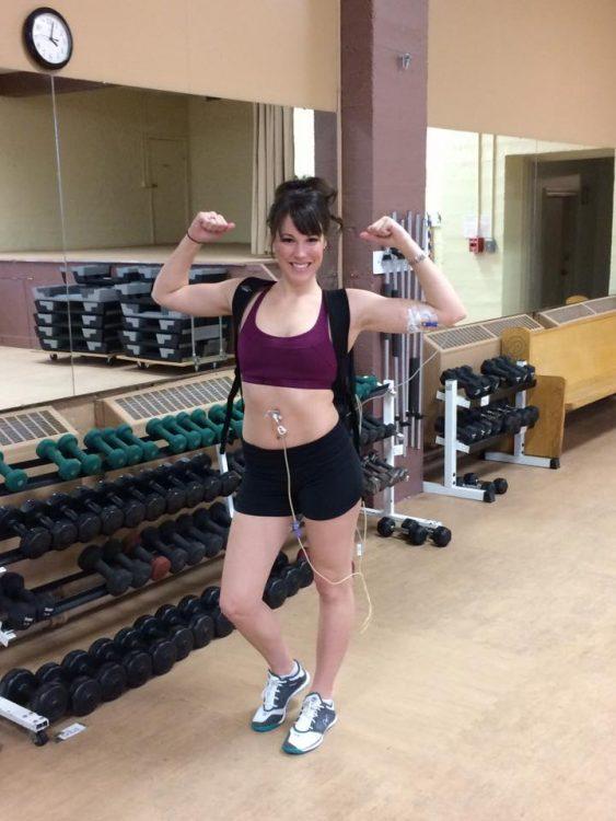 emilie leblond showing muscles