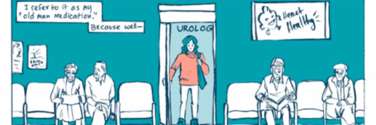 Comic panel showing a woman walking into the waiting room of a urologist.