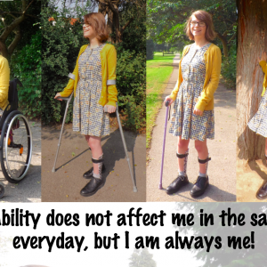 Chloe using a wheelchair or crutches.