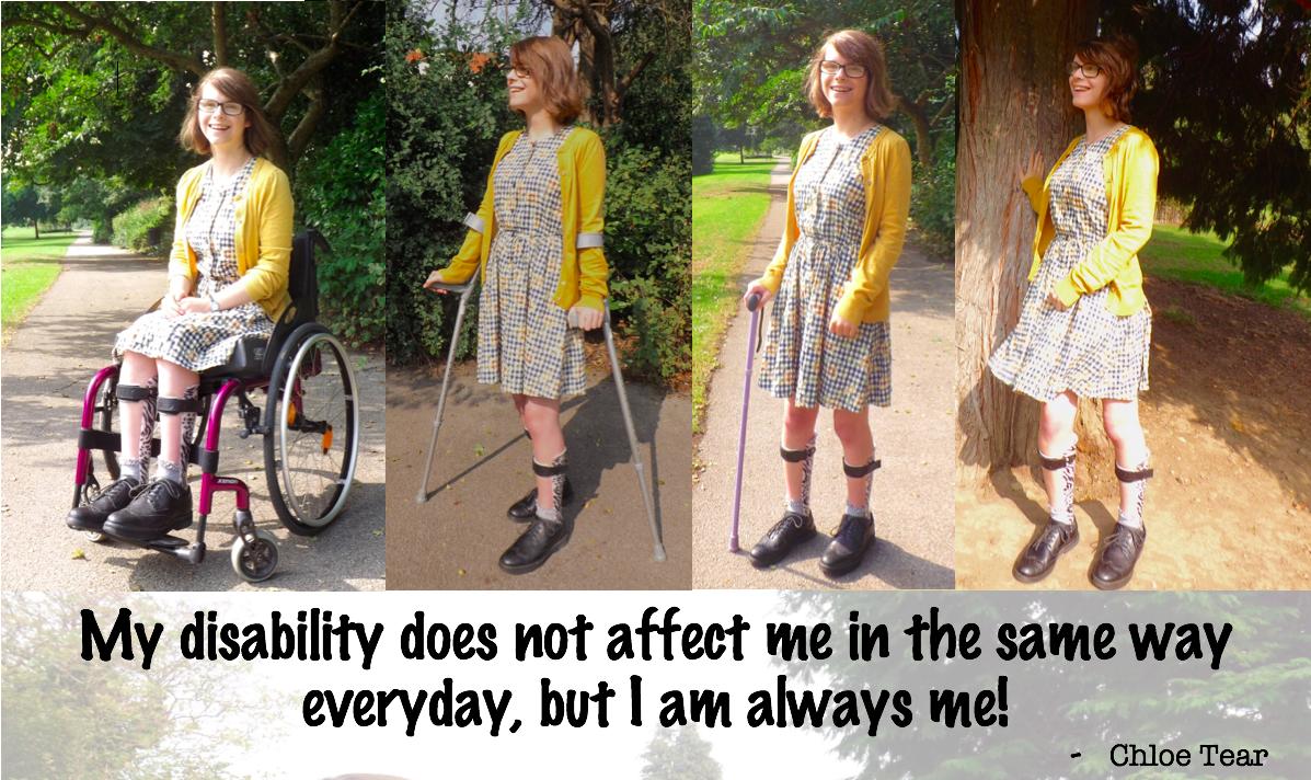 Chloe using a wheelchair or crutches.