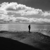 black and white photo of man walking on the beach