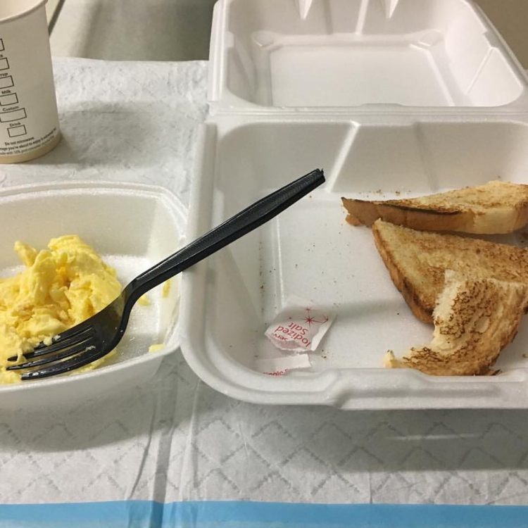 styrofoam containers of toast and eggs