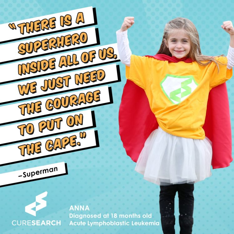 girl wearing superhero shirt and cape with text there is a superhero inside all of us. we just need the courage to put on the cape