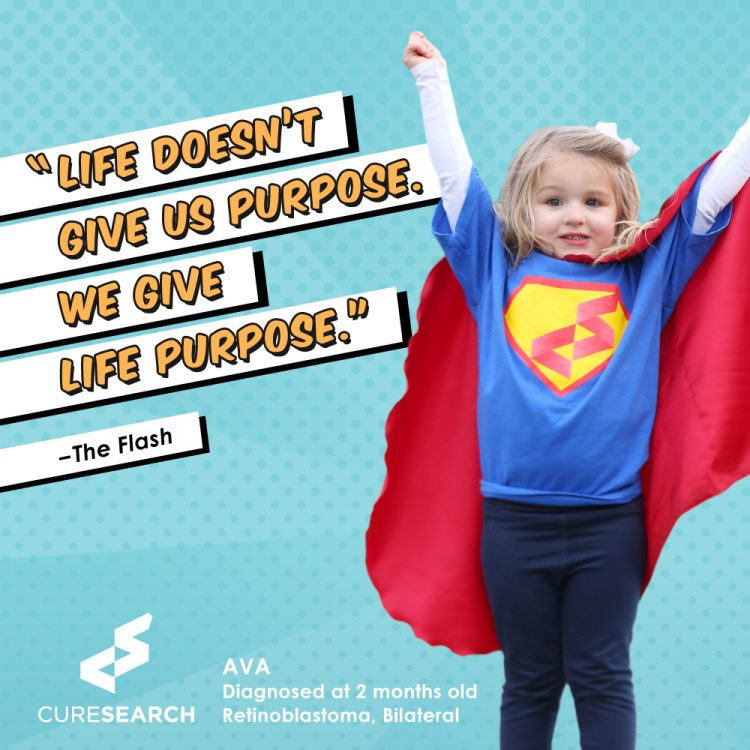 girl wearing superhero shirt and cape with quote life doesnt give us purpose. we give life purpose