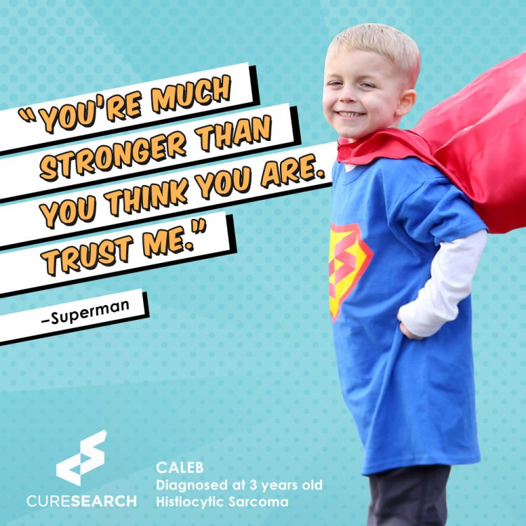 boy wearing superhero cape with quote you're much stronger than you think you are. trust me