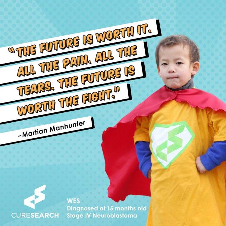 boy wearing superhero cape and quote the future is worth it. all the pain, all the tears, the future is worth the fight