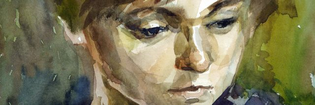 Watercolor woman portrait.