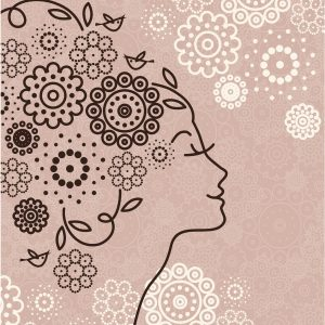 Beautiful woman silhouette with a flowers, vector illustration