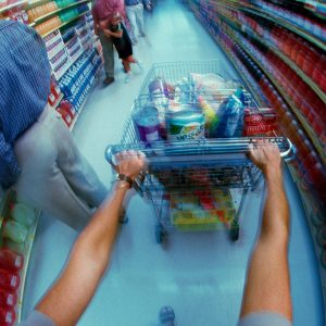 fisheye view of aisle in supermarket