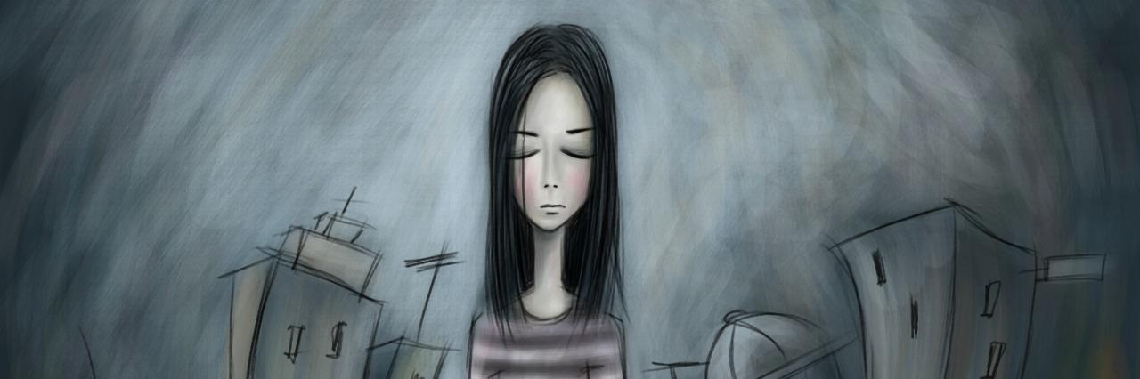 art piece of a lonely girl walking along a city street