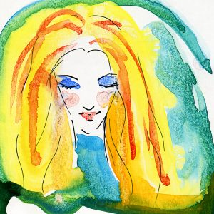 Water colored blonde woman.