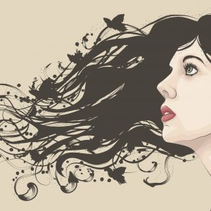 Beautiful woman looking up with flowing abstract hair with butterflies. Face and hair are on separate layers. Extra folder includes Illustrator CS2 AI and PDF files.
