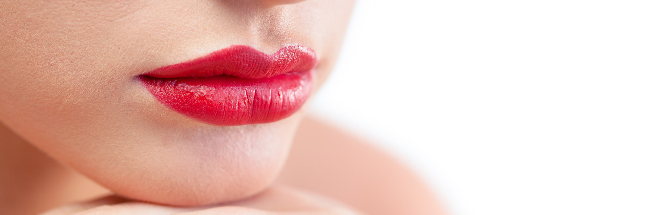 Woman with red lipstick.
