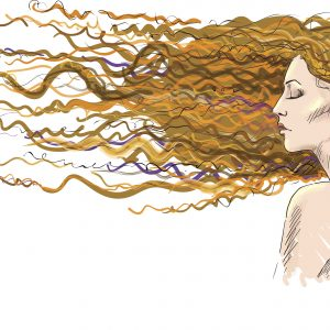 Ginger. Red-haired girl. Hair blown by the wind. Vector EPS 10.