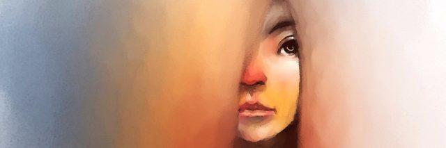 Woman peeking outward