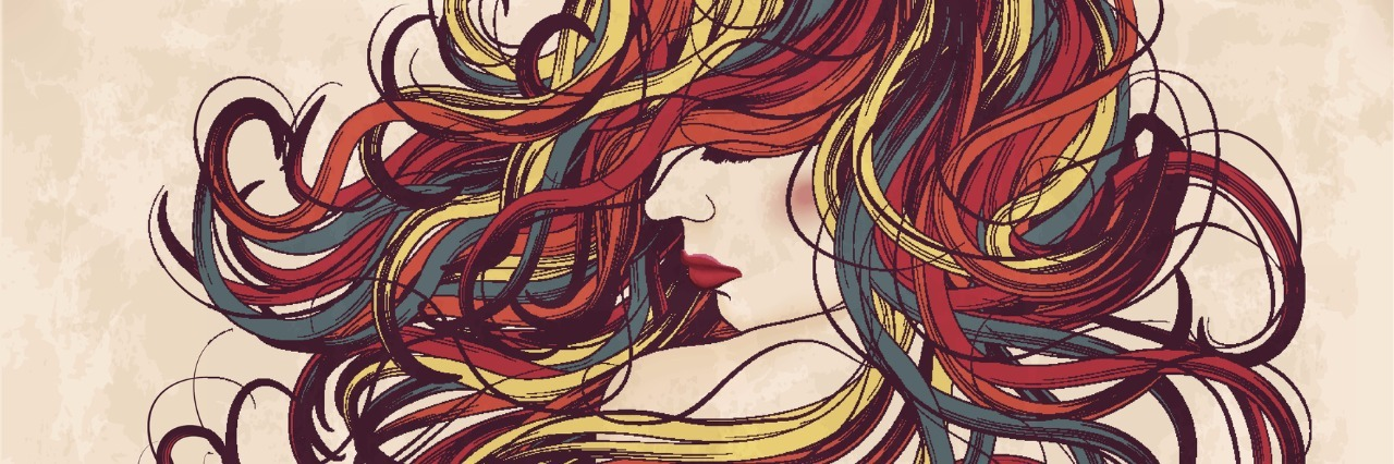 Beautiful woman with long hand drawn colorful hair. This is an eps10 file with blends and transparency.