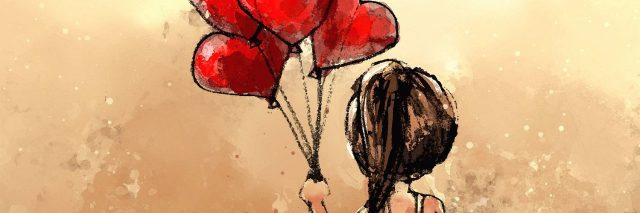 digital painting of girl with balloons hearts, watercolor on paper texture